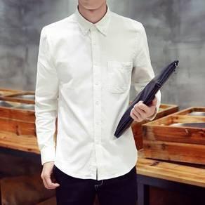 0565 White Formal Casual Men's Long Sleeve Shirt