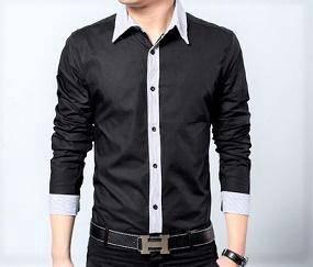 Black Plain Men Formal Casual Long Sleeved Shirt