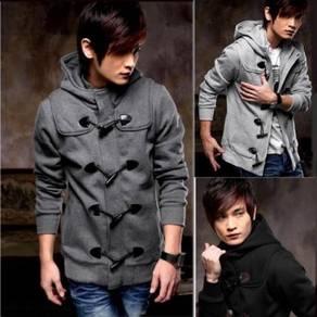 Zipper Horn Button Black Hoodie Men Jacket Sweater