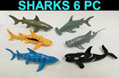 Toy sharks 6 types - for display and education