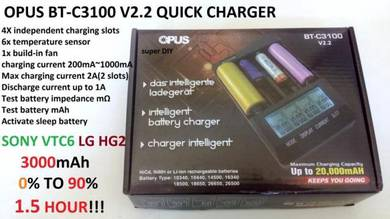 OPUS BT-C3100 v2.2 quick charger 18650, AAA, AA