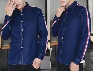 5066 Stylish Formal Dark Blue Long Sleeved Shirt