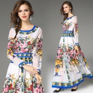 White long sleeve maxi floral prom dress RBMWD0285