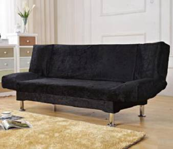 Black sofa double seater 2 seat bed house hitam