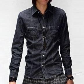 05047 Stylish Black Denim Long-Sleeved Men's Shirt