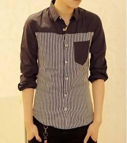 05049 Dark Blue Formal Striped Long-Sleeved Shirt
