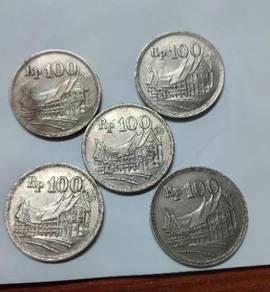 Vintage Indonesia 100 Rupiah Coins 1973