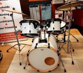 White Wrap 5 Piece Drum Kit