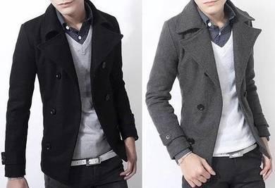 0363 Winter Black Grey Blazer Coat Men Suit Jacket