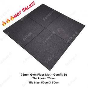 25mm rubber gym floor mat - gymfit sq-rough black