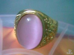 ABRGM-C001 Gold Plated Pink Cats Eye Ring -Sz 11.5