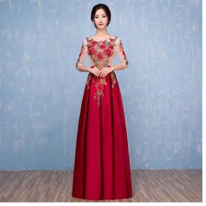 Red chinese wedding bridal gown long sleeve