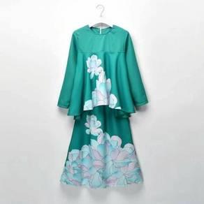 LNICE Minaz Inspired Floral Peplum Kurung GREEN