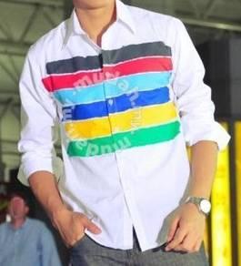 0518 Stylish White Rainbow Man Long-Sleeved Shirt