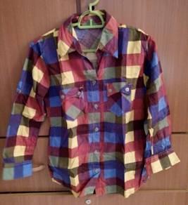 Women Checker Boyfriend Shirt Blouse
