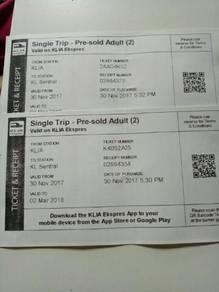 2 Tiket ERL dari klia ke KL Sentral ada 2 tiket