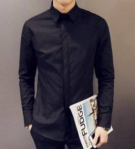 0530A Special Plain Black Formal Long Sleeve Shirt