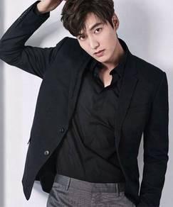 0530A Plain Black Casual Formal Long Sleeved Shirt