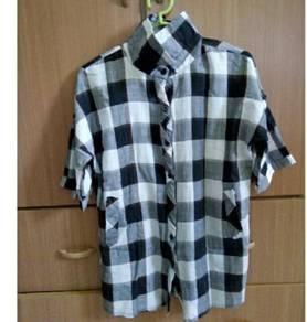 Women Checker Blouse Shirt Black White