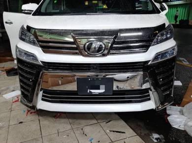 Toyota vellfire 2018 bumper number no plate chrome