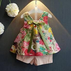 [ready stock] girl floral vest shirt