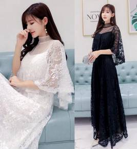 Black white cape plus size wedding prom dress RBP0