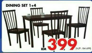 Solid dining set 1+4