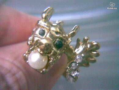 ABRGM-D002 Pretty Noble Shiny Dragon Gold Ring Sz8