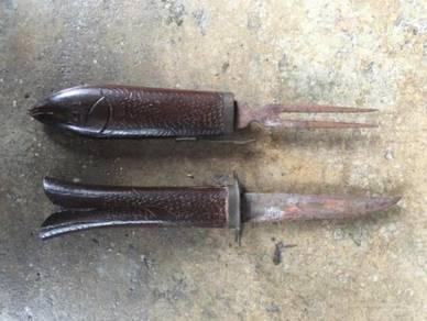 Vintage Pisau Knife Fish Twin Blade 33cm