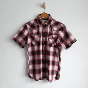 Back number western pearl snap button shirt