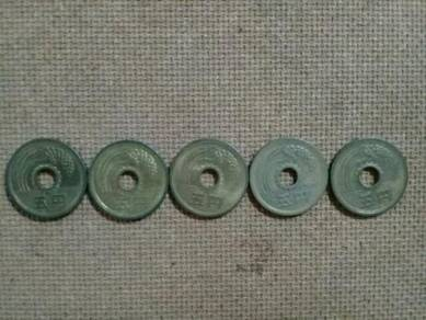 119 Duit 5yen five yen japan coin syiling jepun