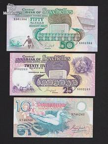 Seychelles all 3 pcs in one set : 10 25 50 rp unc
