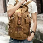 Brown Multi-Function Travel Backpack Military Bag