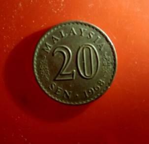 Duit syiling 20sen thn 1968