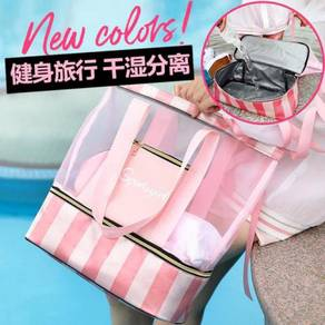 Pink black duffel gym bag tote RBHB049