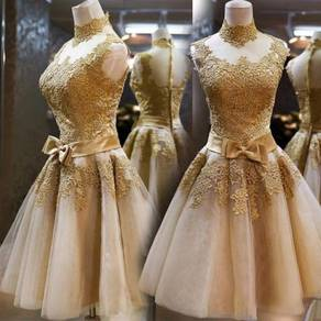 Gold wedding bridesmaid prom dress gown RBBD0050