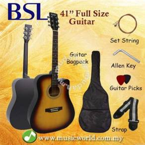 Bsl 41 inch sunburst acoustic guitar full size