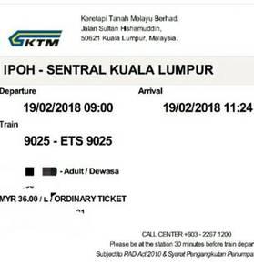 ETS Ticket 19 Feb 2018 9am Ipoh - KL