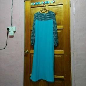 Jubah kain sejuk colour biru cerah