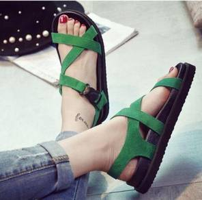 7799 Retro wild Harajuku Sandals (Green - 37)