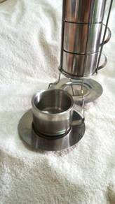 4 Sets Stainless Steel Espresso Cup & Saucer