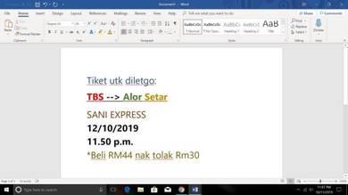 Tiket Bas TBS ke Alor Setar 12/10/2019