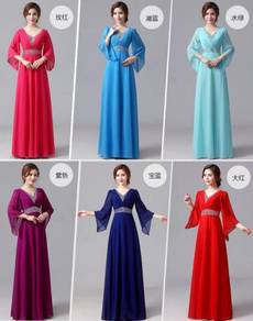 Red pink blue purple long sleeve dress RBBD0052