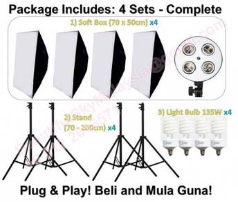 Photography Light Soft Box, Stand& Light Bulb 4Set
