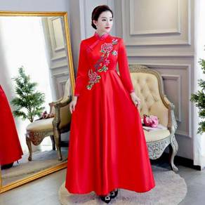 Muslimah cheongsam white red prom dress RBBD0055