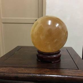 Golden Calcite Crystal Sphere-D