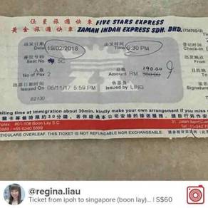 Bus Ticket for Sale from Ipoh to Singapore 19 Feb