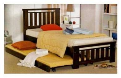 Wooden Single Bed With Pull out Trundle Bed