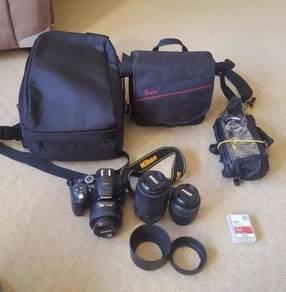 Nikon D5300 camera , 3 lens
