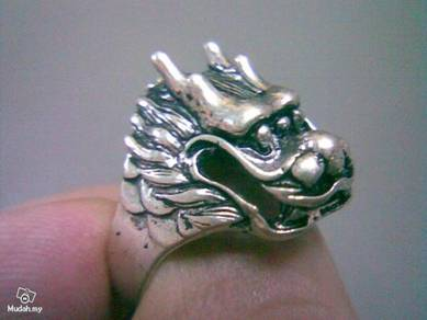 ABRSM-D001 Dragon Face Head Silver Metal Ring Sz 9